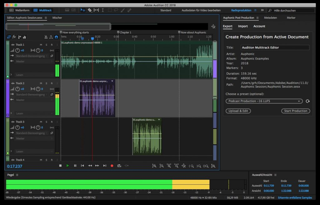 View of coomputer screen running Adobe Audition.