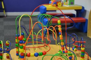 Closeup view of some of the children's play equipment in the Tea bar area.